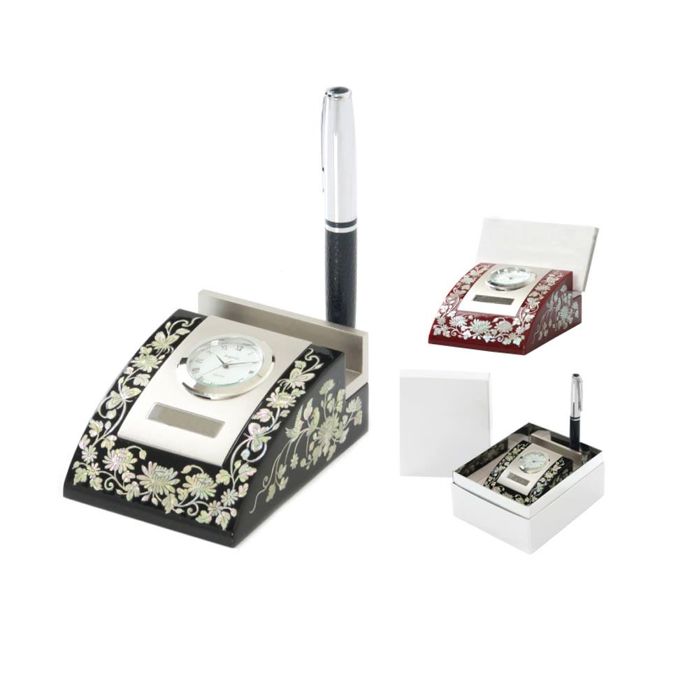 KLPK12040 인테리어 탁상시계 자개 펜 탁상시계