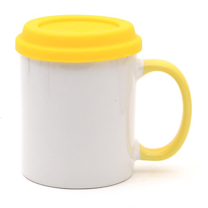KLPK21028(100개 단가) 직선 핸드라인 옐로우 에코뚜껑머그 머그컵 텀블러 판촉 전용 상품 케이엘피코리아