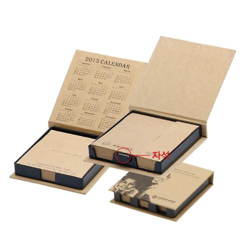 KLPK35041(1000개 단가) 크라프트 양장메모함(소) 100매 1도인쇄판촉물 케이엘피코리아
