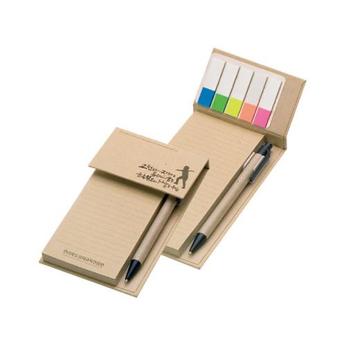 KLPK35048(1000개 단가) 크라프트 메모패드(대) 점착+5색플래그 1도인쇄판촉물 케이엘피코리아