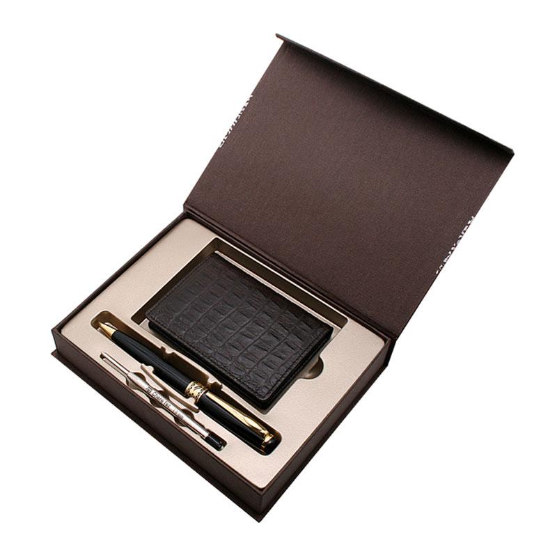 KLPK37050(100개 단가) 소가죽크로커명함지갑(다크브라운)+엔젤펜(금장)