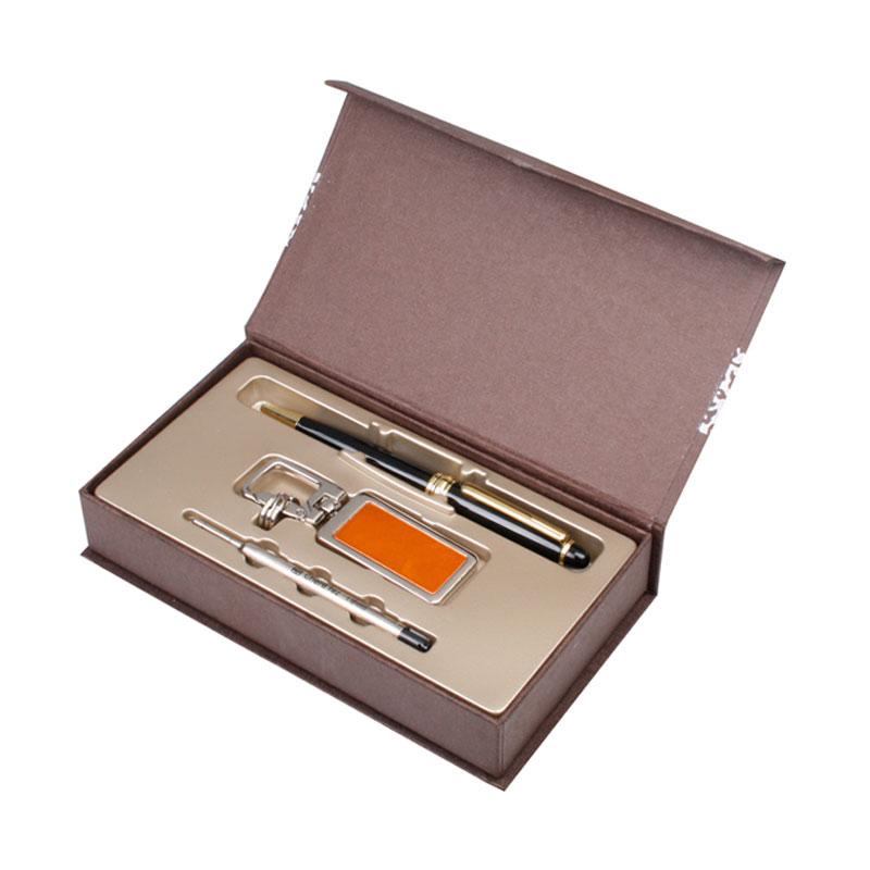 KLPK37058(100개 단가) 히든메탈열쇠고리(오렌지)+클래식펜(금)