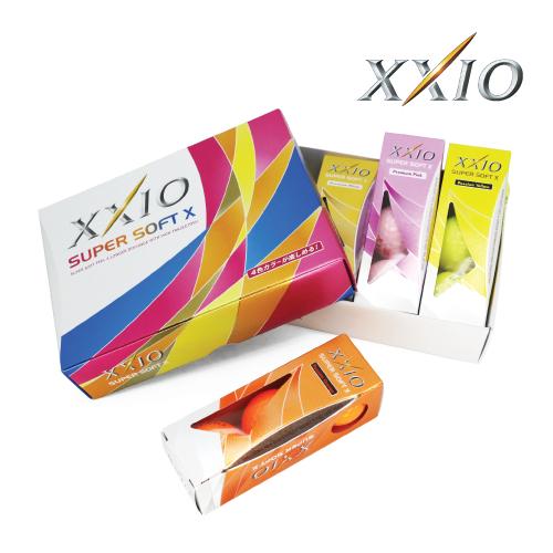 KLPK60018 (100개 단가)젝시오 SUPER SOFT X 칼라 골프공 12구세트(칼라인쇄+포장비별도)